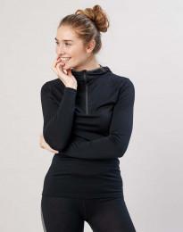 Trøje med hætte til dame - økologisk eksklusiv merino uld sort