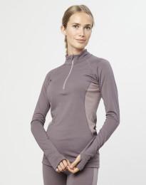 Trøje med lynlås til dame - økologisk eksklusiv merino uld lavendel grå