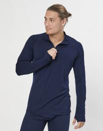 Langærmet trøje 1/3 lynlås - økologisk eksklusiv merino uld navy