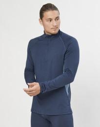 Langærmet trøje 1/3 lynlås - økologisk eksklusiv merino uld gråblå