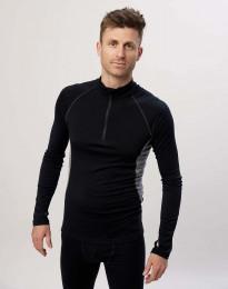 Langærmet trøje 1/3 lynlås - økologisk eksklusiv merino uld sort