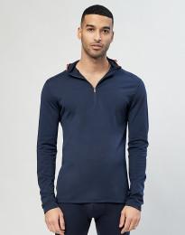 Trøje m. hætte - økologisk eksklusiv merino uld Navy