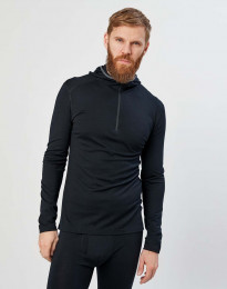 Trøje m. hætte - økologisk eksklusiv merino uld Sort