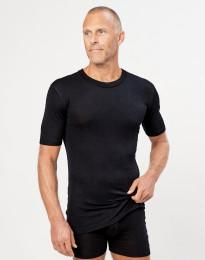 Kvartærmet herre t-shirt i merino uld/silke sort
