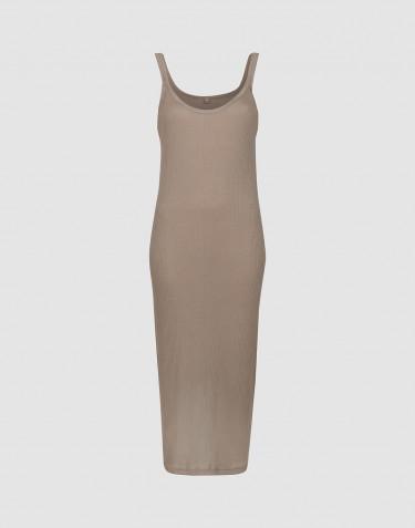 Natkjole til kvinder i rib m/stropper sand