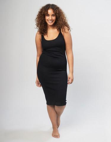 Natkjole til kvinder i rib m/stropper sort