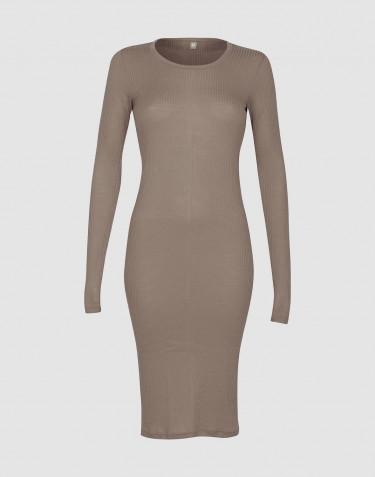 Langærmet rib natkjole til kvinder Sand