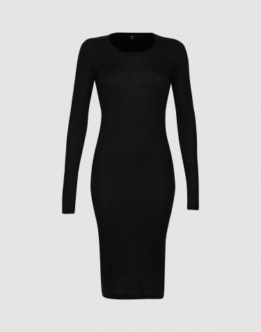 Langærmet rib natkjole til kvinder Sort