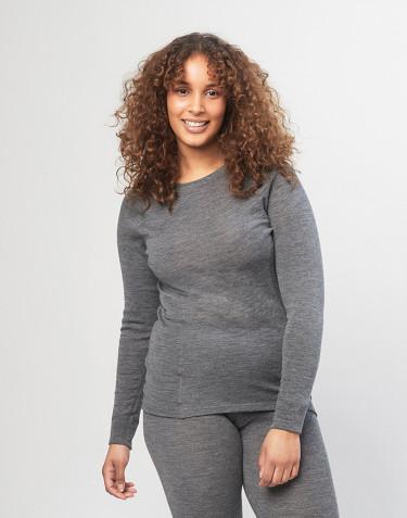 Merino trøje med høj halsudskæring til kvinder - grå