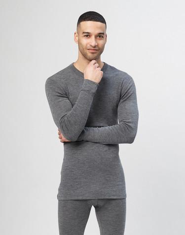 Langærmet merino uldtrøje til mænd - grå