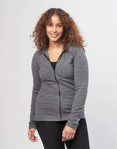 Hættetrøje i stribet uldfleece til Kvinder mørk gråmelange