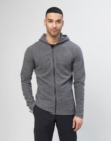 Hættetrøje i stribet uldfleece til Mænd mørk gråmelange