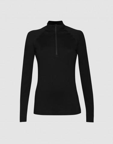 Trøje med lynlås til dame - økologisk eksklusiv merino uld sort