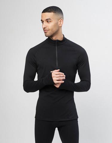 Langærmet trøje med 1/3 lynlås til mænd - økologisk merino uld sort