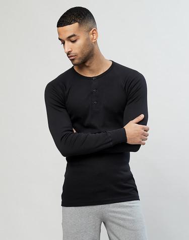 Premium classic - langærmet t-shirt mænd bomuld sort