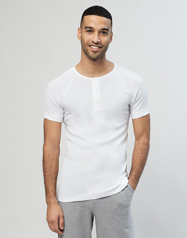 Premium Classic - kortærmet bomuldstrøje med knapper til herrer hvid