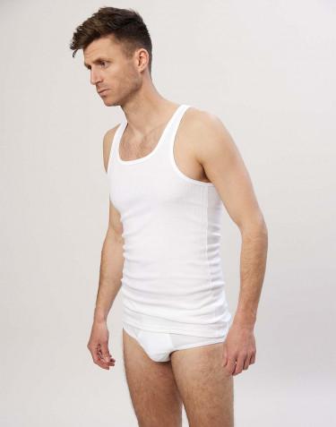 Bomuldsundertrøje i rib til herrer hvid