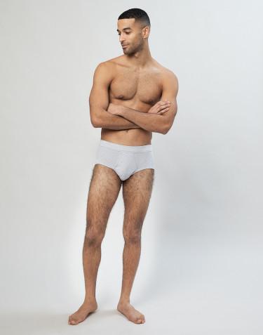 Klassisk bomuldstrusse i rib til herrer lysgrå
