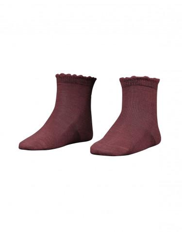 Børnestrømper - økologisk merino uld rouge