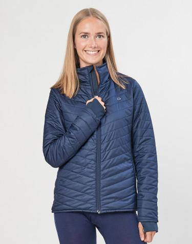 Outer-Layer jakke med lynlås til dame - genanvendt polyester/merino uld mørkeblå