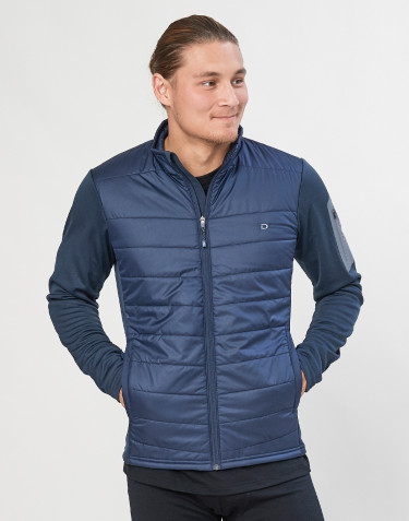 Hybridjakke med lynlås til herre - genanvendt polyester/merino uld mørkeblå