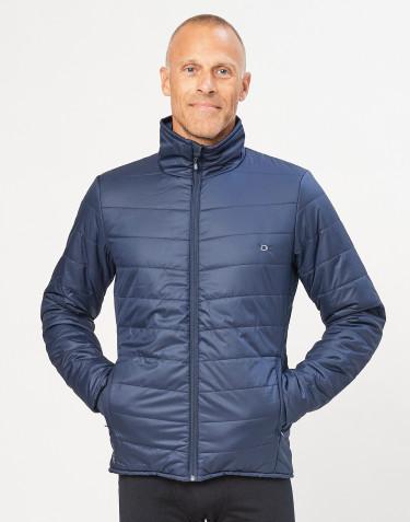 Outer-Layer jakke med lynlås til herre - genanvendt polyester/merino uld mørkeblå