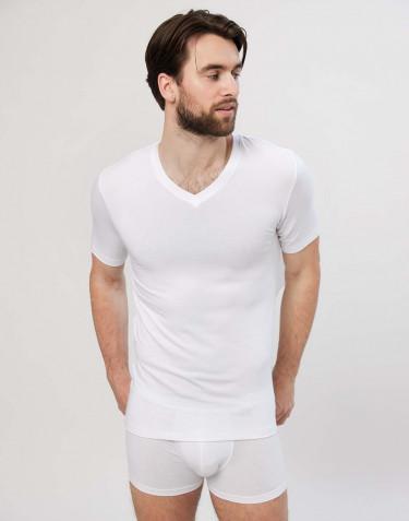 Bomulds T-shirt med V-hals til herrer hvid