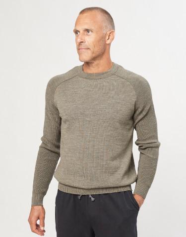 Strikket sweater til herrer støvet grøn