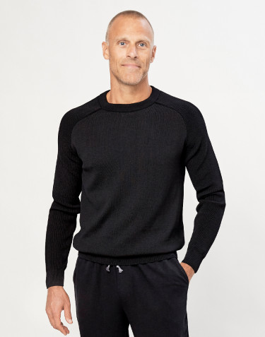 Strikket sweater til herrer sort