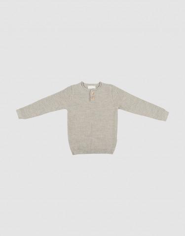 Børne sweater i strik gråmelange