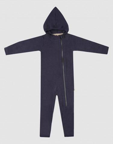 Køredragt til baby i merino uldfleece blå