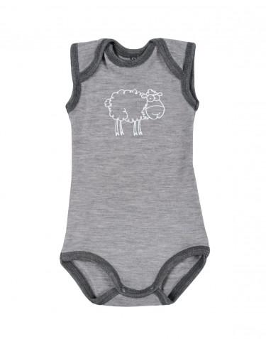 Merino uldbody til baby uden ærmer gråmelange