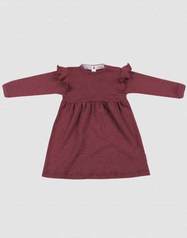 Uldkjole til baby - økologisk merino uld julerød
