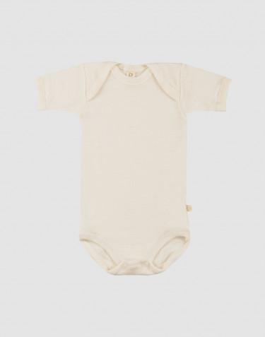 Baby body m/kort ærme - økologisk merino uld natur