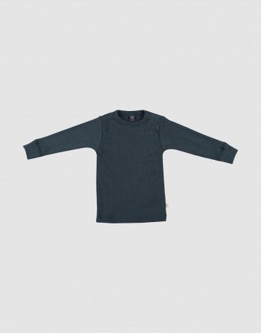 Merino trøje i bred rib til baby mørk petrolblå