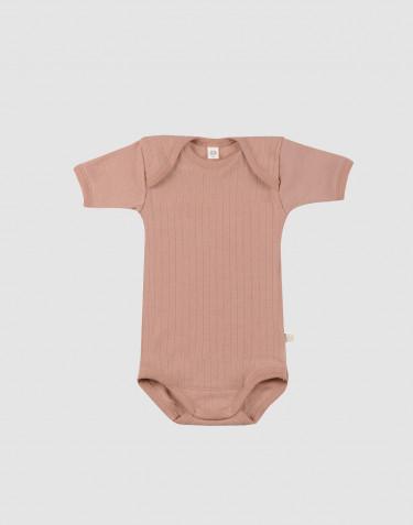 Baby body m/kort ærme - økologisk merino uld pudder