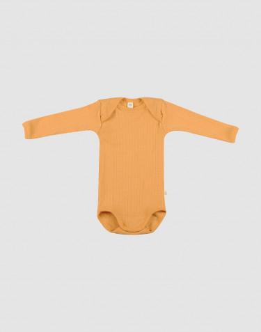 Ribstrikket baby uldbody gul