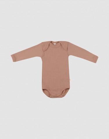 Baby body m/langt ærme i rib - økologisk merino uld pudder