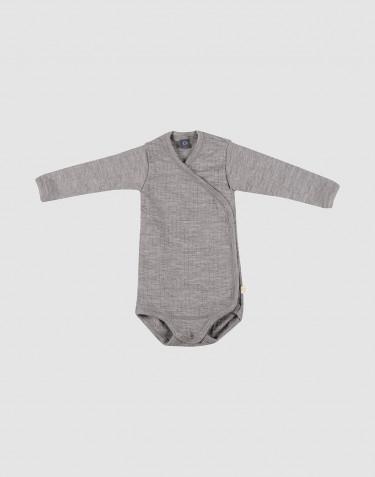 Slå-om body i ribstrikket uld til baby