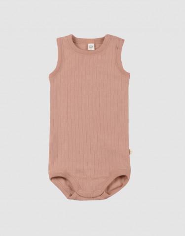 Merino body til baby uden ærmer pudder