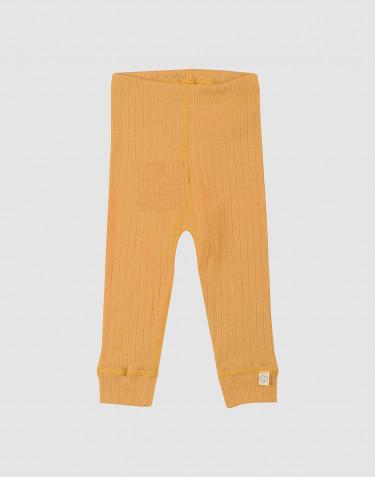 Ribstrikket uldleggings til baby gul
