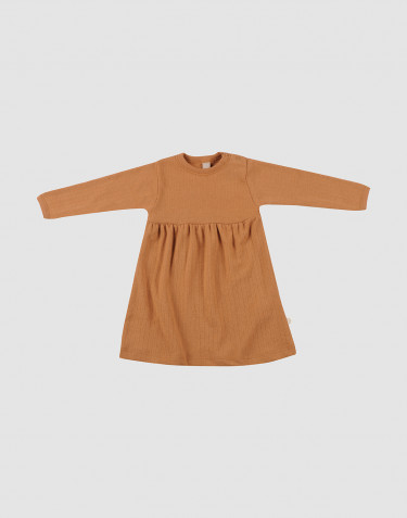 Ribstrikket uldkjole til baby karamel