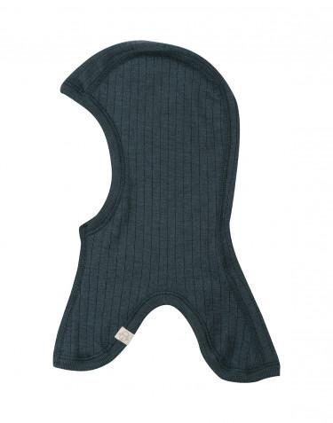 Elefanthue i ribstrikket merino uld til børn mørk petrolblå
