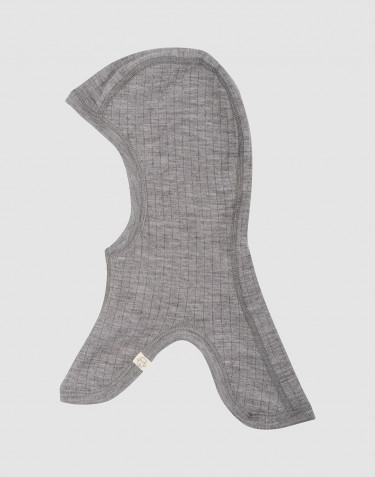 Elefanthue i ribstrikket merino uld til børn gråmelange