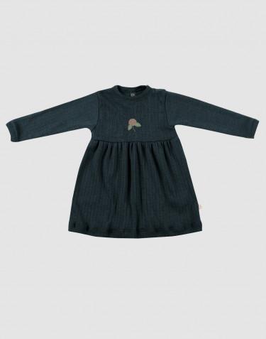 Ribstrikket uldkjole til baby i mørk petrolblå