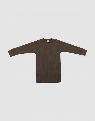 Merino trøje i bred rib til baby mørk chokolade
