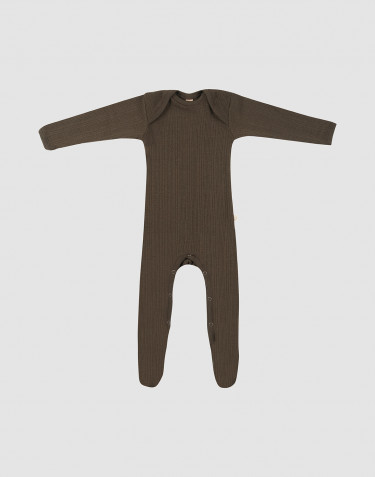 Merino heldragt m/fødder baby mørk chokolade