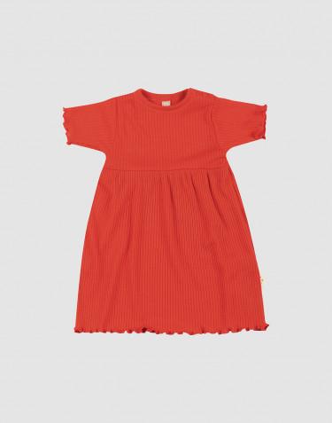 Merinouldkjole med korte ærmer og bølgekanter til baby