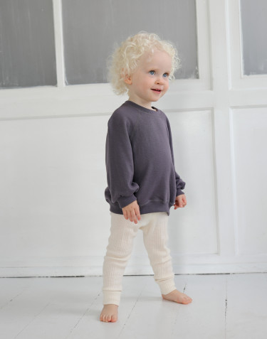 Merinouldfrotté sweatshirt med vide ærmer til baby