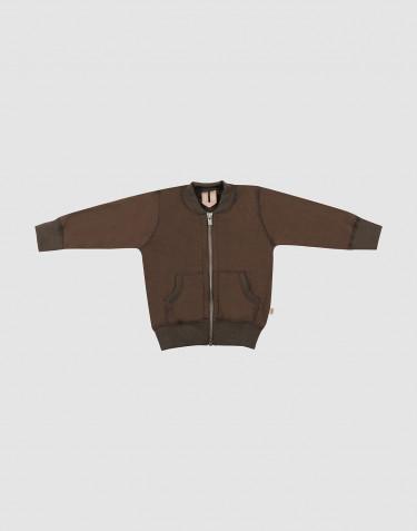 Baby jakke i uldfrotté mørk chokolade